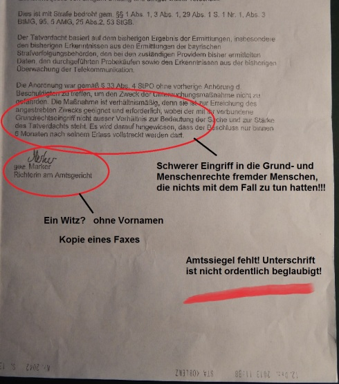 Koblenz Durchsuchungsbeschluss Benita Marker S 2 markiert