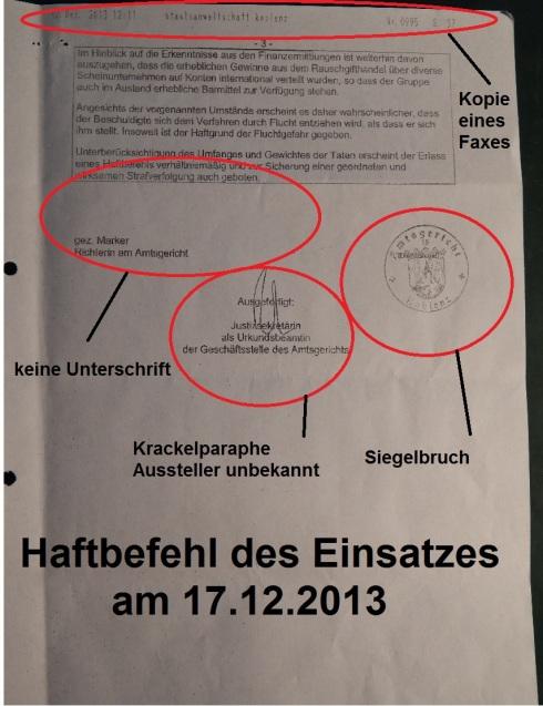 Koblenz Haftbefehl Marker Richterin am Amtsgericht o. Unterschriften Markierungen
