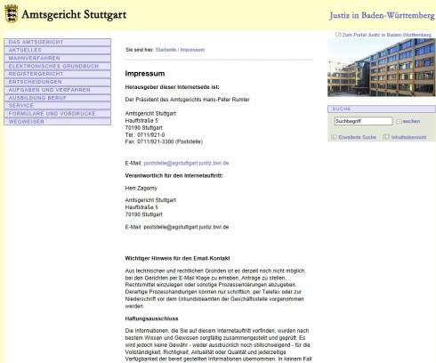 AG Stuttgart Web Screen
