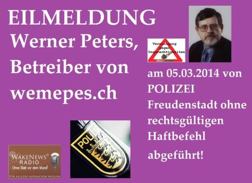 Werner Peters am 05.03.2014 verhaftet