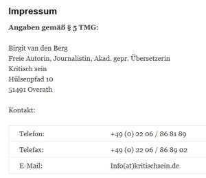 Impressum kritischsein.de