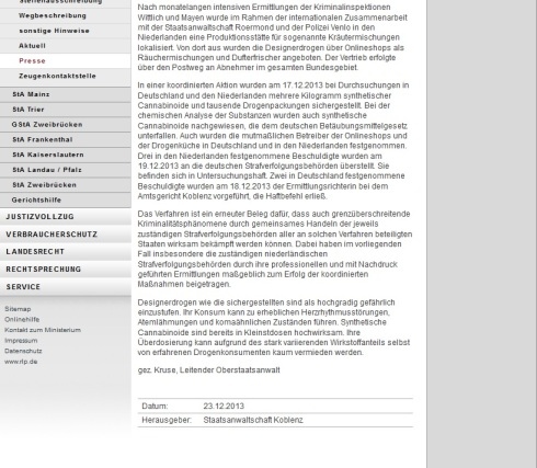 Pressemitteilung Staatsanwaltschaft Koblenz screen 23.12.2013 p2