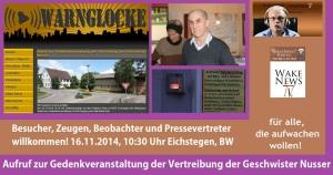 Aufruf zur Gedenkveranstaltung der Vertreibung der Geschwister Nusser