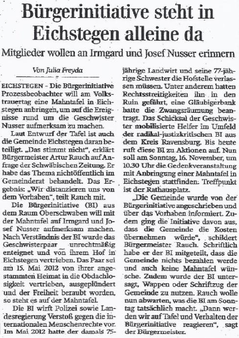 SZ-Veröffentlichung 13.11.2014 zur Gedenktafelerrichtung Geschwister Nusser