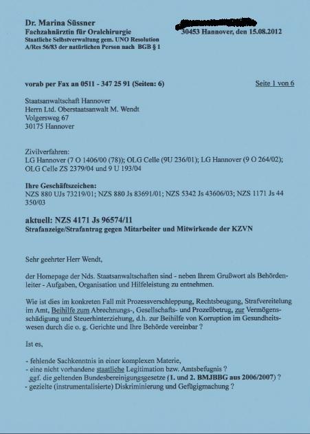 Strafantrag Dr. Marina Süssner gegen KZVN p1