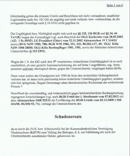 Strafantrag Dr. Marina Süssner gegen KZVN p5