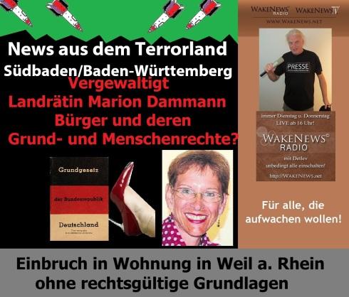 News aus dem Terrorland Südbaden, Baden-Württemberg Landrätin Marion Dammann vergewaltigt Grundrechte
