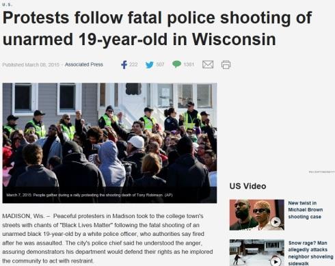 Wisconsin Police Killed Unarmed
