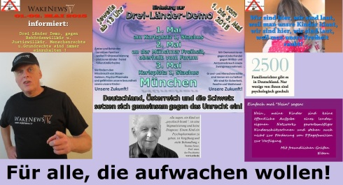 Dreiländer-Demo gegen Rechtswillkür und Kinderraub VUG Wake News 2015