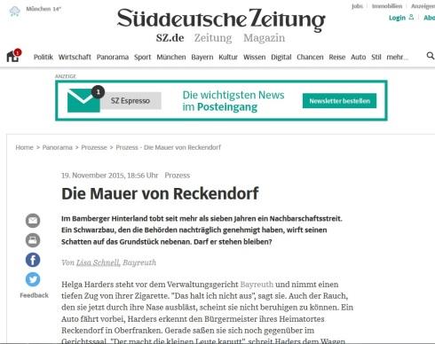 Die Mauer von Reckendorf SZ-Artikel 19.11.2015