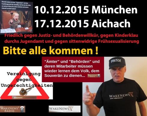 Demo in München und Aichach 10.12.2015 + 17.12.2015