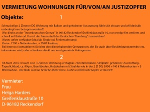 Wohnungs Vermietung an Justizopfer 20151218