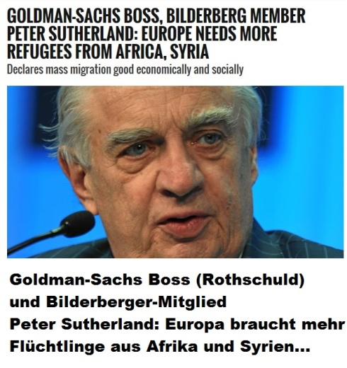 Goldman-Sachs Boss Peter Sutherland - Europa braucht mehr Flüchtlinge aus Afrika und Syrien