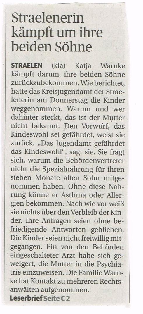 Zeitungsbericht Straelen
