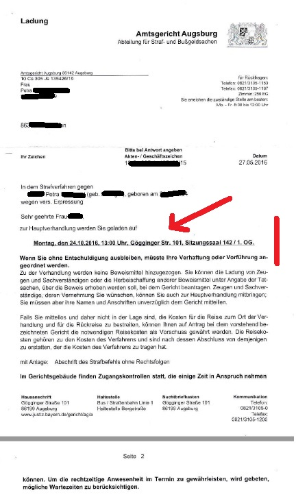 Ladung AG Augsburg 24.10.2016 Jürgen Brötsch p1 mark.