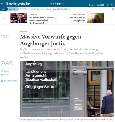 Massive Vorwürfe gegen Augsburger Justiz