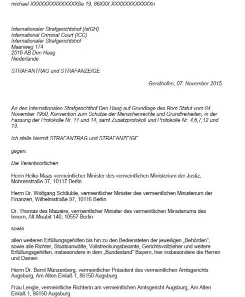 Strafantrag ICC Michael