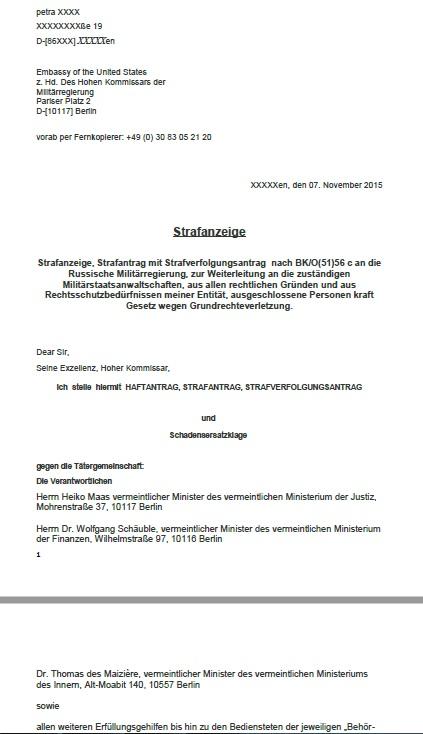 Strafanträge gegen Bund-Systemlinge US-Besatzungsmacht