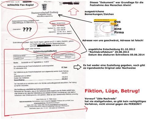 Fax-Kopie eines Herrn Ernst 26.07.2016 Seite 1 mit Markierung