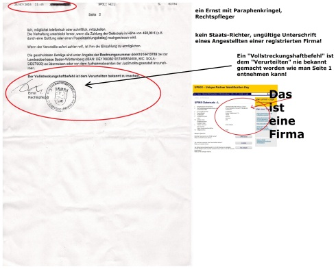 Fax-Kopie eines Herrn Ernst 26.07.2016 Seite 2 mit Markierung