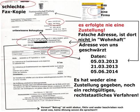 Fax-Kopie Strafvollstreckung eines Herrn Ernst 26.07.2016 Seite 1 mit Markierung