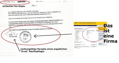 Fax-Kopie Strafvollstreckung eines Herrn Ernst 26.07.2016 Seite 2 mit Markierung