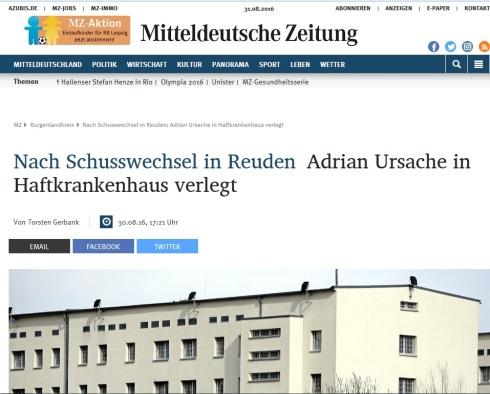 MZ - Adrian ins Haftkrankenhaus Leipzig eingeliefert