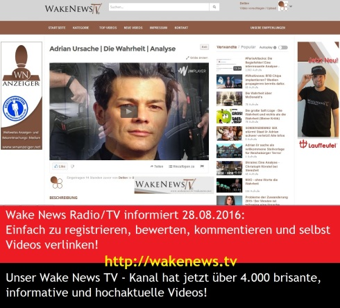 Wake News TV - Kanal Screen - über 4.000 Videos 20160828
